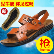 2017 new summer genuine leather leather sandals leather sandals slippers Dichotomanthes end men leisure tide