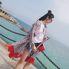 Buy a send a mystery show long coat female 2017 summer Floral Chiffon ruffles summer suntan dress tide