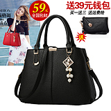 Nasir language new trendy handbag Europe and the United States double-layer large-capacity bag lychee pattern simple wild handbag