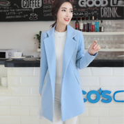 2016 winter women's new thick thin wool coat Korean female size in the long slim woolen coat