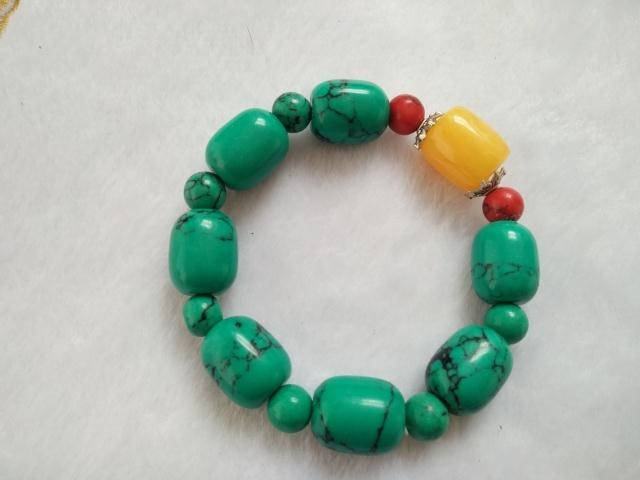 One yuan auction natural barrel bead Turquoise Bracelet beads Turquoise bracelets with beeswax Bracelet