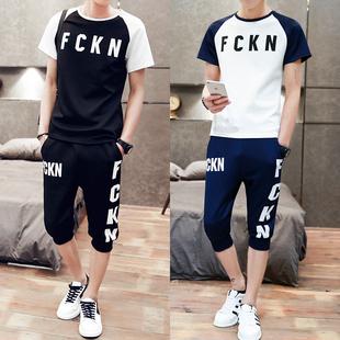 男士2016新款夏装短袖t恤韩版运动套装青少年夏季T血桖男装衣服潮