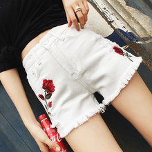 The new summer jeans female hole flash embroidery 2017 female short pants slim pants size all-match tide