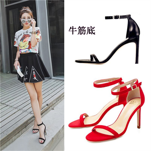 Female 2017 summer sandals new Europe and the United States fine with high heels fashionable word buckle with hollow peep-toe shoes