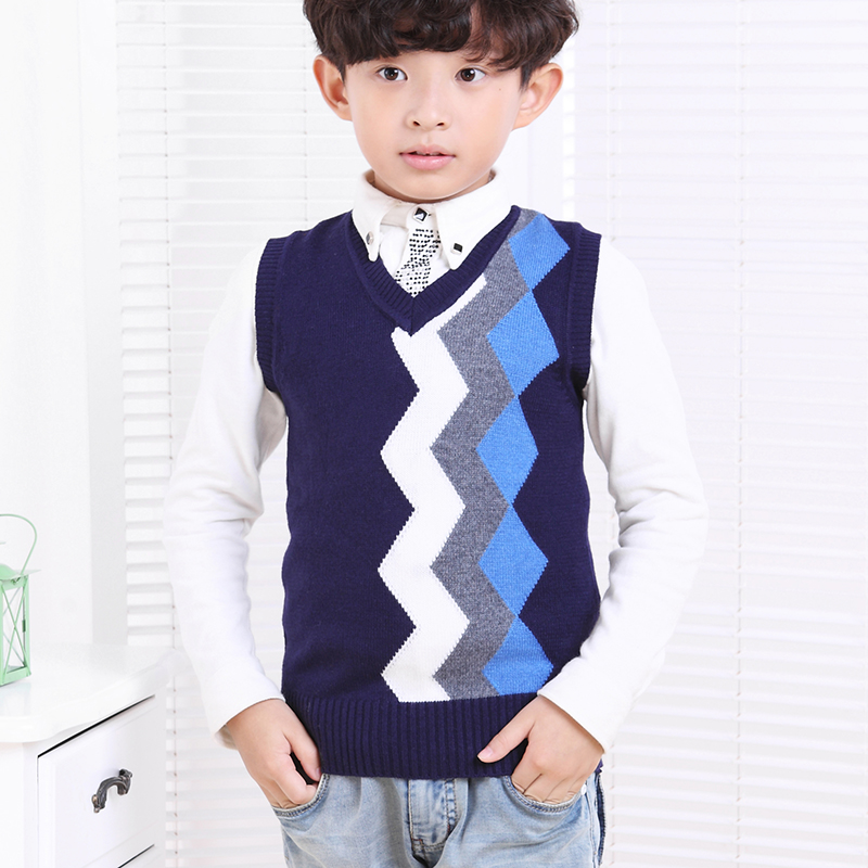 Balabala 2015 new winter sweater vest in the big boy boy knitted sweater vest thickening sleeve head