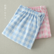The spring and autumn gauze cotton pajama pants, casual pants and lattice Japanese Muji trousers to wear cotton pajamas wind