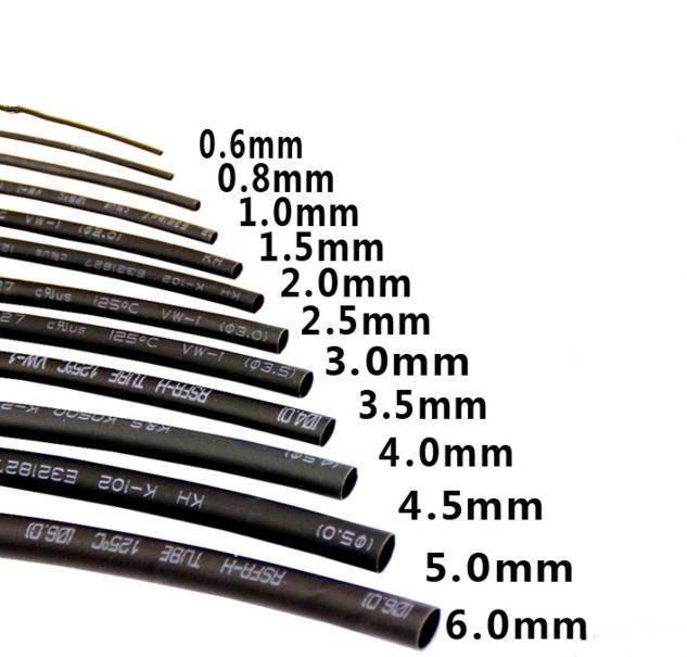 菲比特热缩管黑色1 2 3 4 5 6 8 10 14 30 40 50mm绝缘防水耐高温