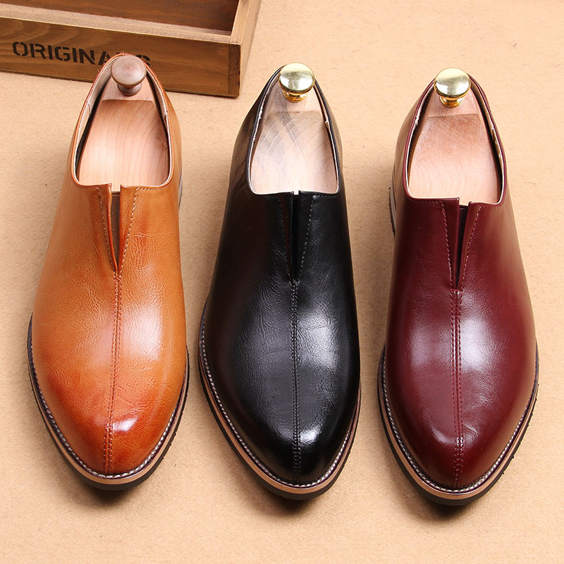 Fall/winter men's pointy business shoes sets foot in England Brock casual leather wedding shoes Korean hairdresser shoes