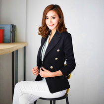 Ladies spring of 2016 new Korean version of slim double breasted long sleeve small suits womens Korean version of the suit Jacket Women plus size