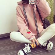 New winter wind and thick long sleeved cashmere college Hoodie female Korean students loose clothes coat tide