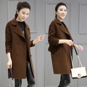 2017 spring new wool tweed coat girls long Korean cocoon double breasted woolen coat loose size tide