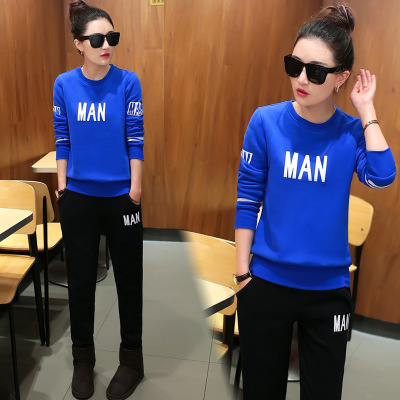 Hong Kong purchasing new women's plus fleece winter warm thick sweater 2 piece sleeve head sportswear and leisure set