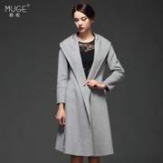 Jose song 2015 winter cloth coat double-sided wool coat long coat pure color bring a coat
