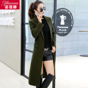 Girls long woolen coat knee 2017 autumn Korean slim slim suit collar wool coat size