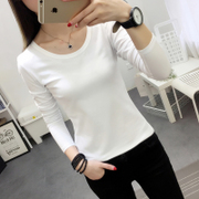 White long sleeved T-shirt and shirt slim short blouse T-shirt girl all-match solid tight T-shirt