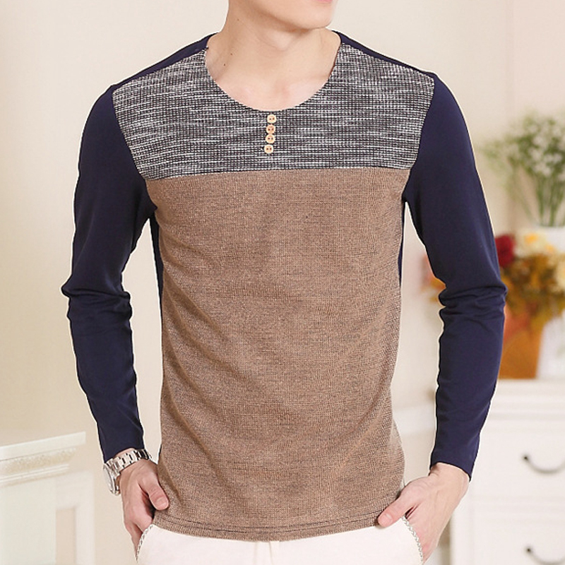 The new Korean youth male long sleeved T-shirt casual shirt T-shirt shirt slim cotton clothes Mens Fashion