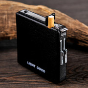Gift box 20 cigarette pack automatic cigarette case with windproof lighter creative super male cigarette case bag