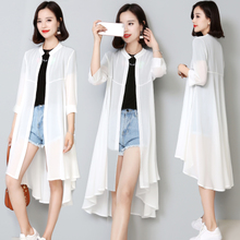 In the long section of chiffon cardigan sun protection clothing female 2018 summer new loose thin jacket air conditioning shirt outside shawl