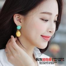 South Korea imported purchasing genuine style folk style color imitation stone drop earrings earrings earrings