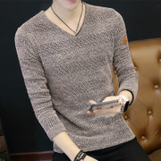 Long sleeved T-shirt man coat collar T-shirt SHIRT MENS V spring winter clothes autumn clothing knitted shirt