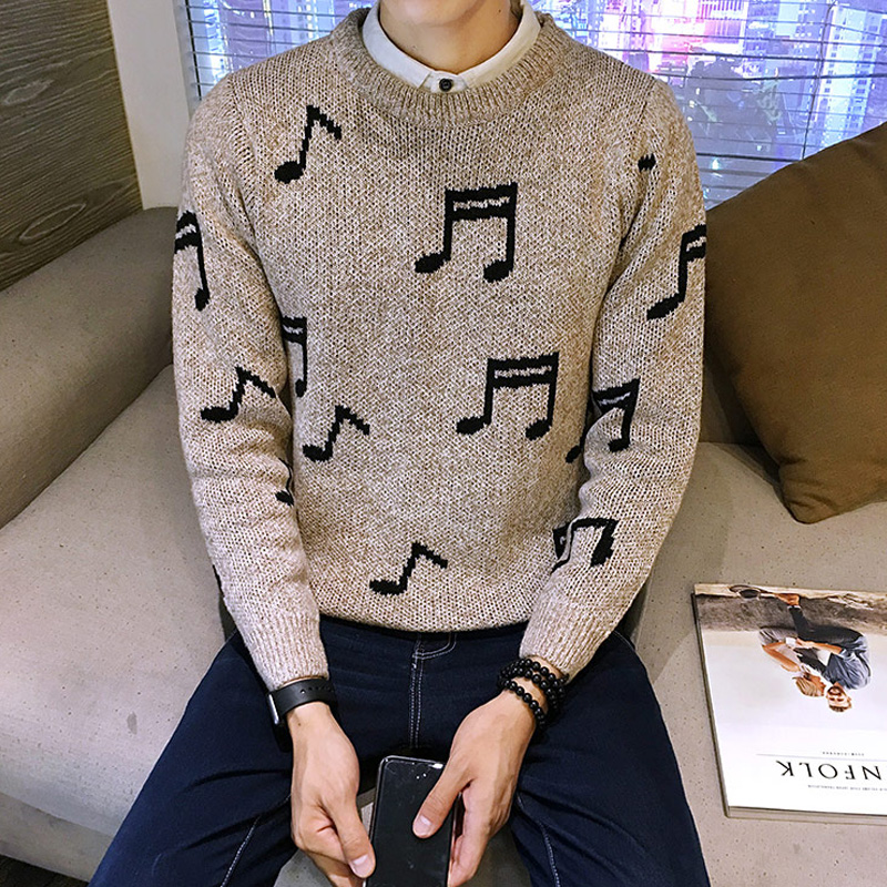 Korean music symbol stamp size - slim Pullover Sweater Coat men wear primer
