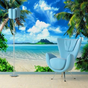 3d椰树大海 天空自然风景客厅电视背景墙纸壁纸卧室沙发大型壁画