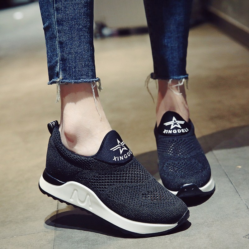 Female students in the fashion of increasing the net surface breathable lazy shoes 2017 summer new Korean version hundred Sports Casual Shoes