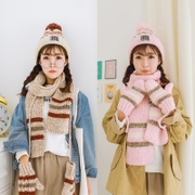Winter hat scarf glove three suit female Korean wool cashmere one plus 2017 thick warm hooded collar
