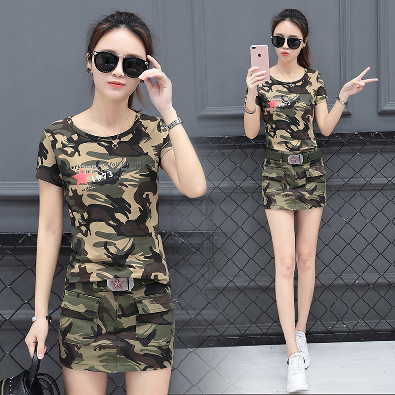The main summer new camouflage uniforms, short sleeved T-shirts, shorts, skirt sets, women's cotton outdoor sports training clothes, Z115