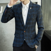 Young boys in the Korean version of the men's casual Plaid suit young men's suit jacket spring and autumn men's small business suit