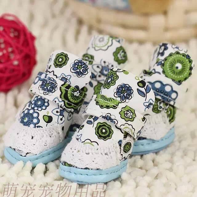Email blast fashion pet dog pets dog shoes Pu printing printing lace shoes fall/winter Teddy