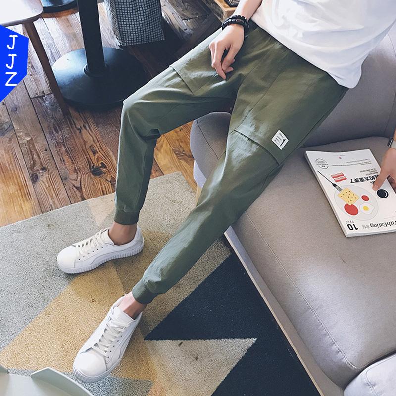 加绒九分休闲裤男士冬季修身学生裤子男韩版潮流男生2017百搭新款