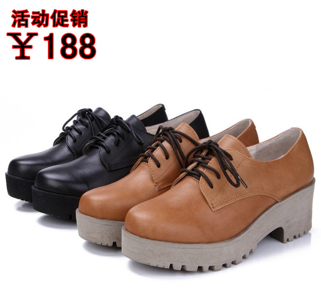 Providence beauty casual women's shoes-fall 2015 women leather shoes waterproof Taichung with rough wind with College women's shoes 6JP23