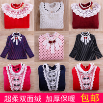 Late fall winter girls shirts children sweater long sleeve t-shirt children velvet shirts and thick super soft fleece baby