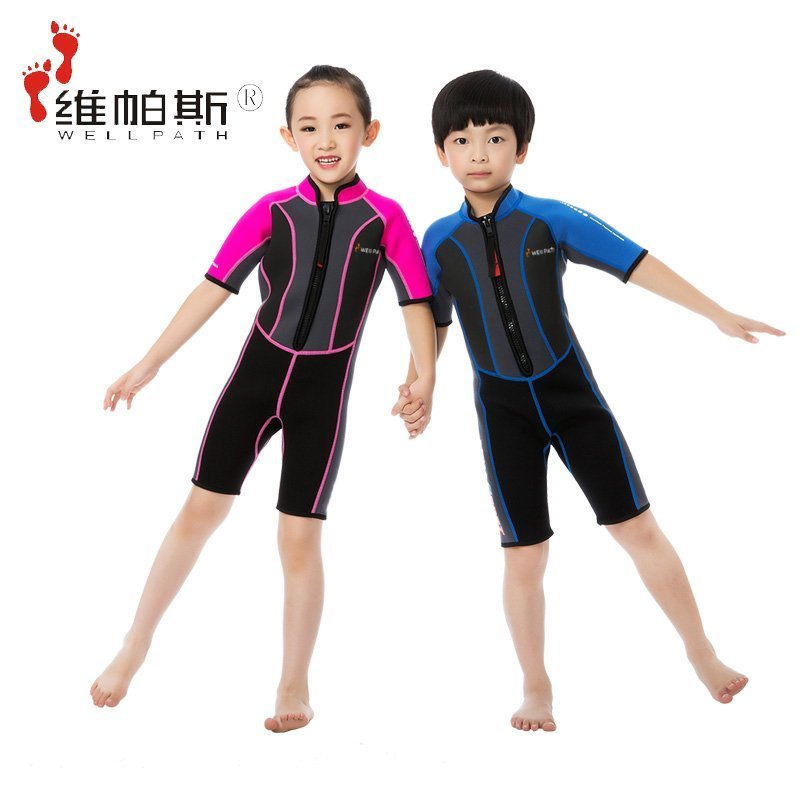 Children's sunscreen one-piece wetsuit swim clothing girls boys children jellyfish clothing quick dry snorkel diving suits