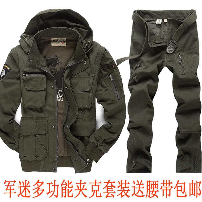户外军迷服饰特种兵男套装作训军装拆袖耐磨野战飞行套服迷彩服