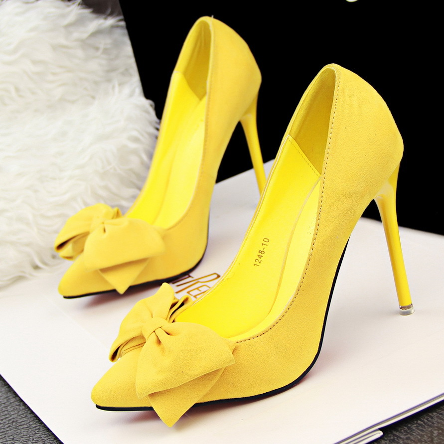 Yellow High Heels With Bow