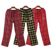 Shipping embroidered spring men's cotton flannel trousers Home Furnishing Plaid Pajama Pants XL with pocket