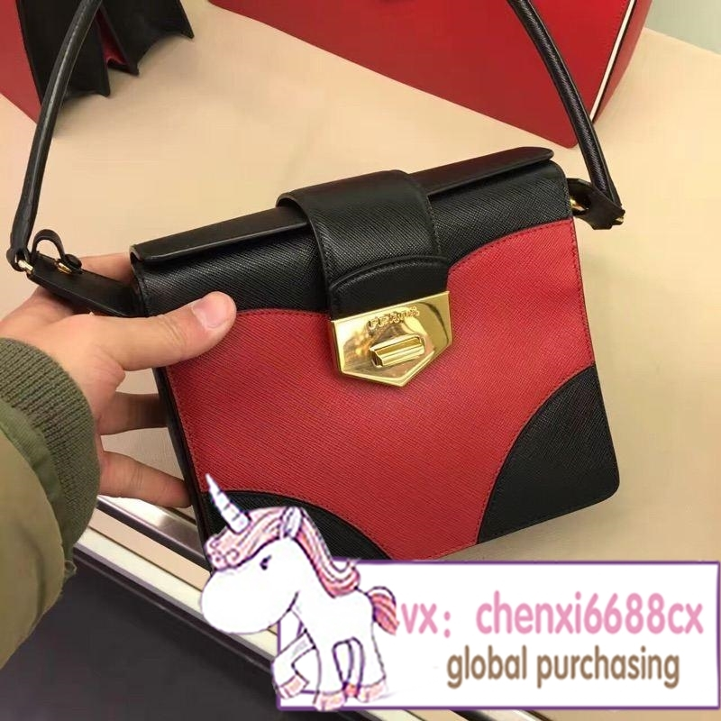 Bought Prada/ms Prada portable oblique cross bag new red, white and color matching all cowhide fashion small package