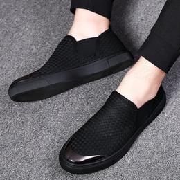 夏季帆布鞋男士豆豆潮鞋子休闲一脚蹬懒人布鞋韩版板鞋乐福鞋男鞋
