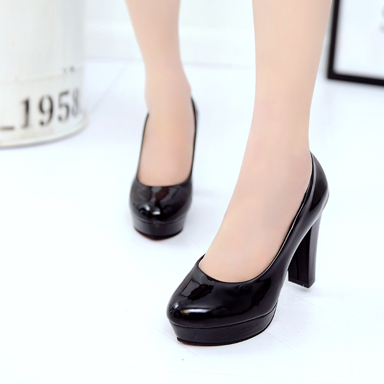 Sexy single shoes white wedding shoe heels with round head thin waterproof joker job black big yards for women's shoes