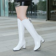 New white boots, red female high chunky heels and dance in the soft leather side Zip Boots size 40414243