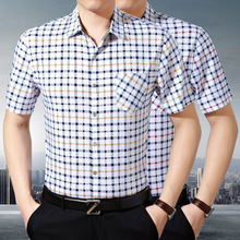 In the summer of middle-aged men short sleeved shirt business casual Plaid size shirt iron man father put on father's Day