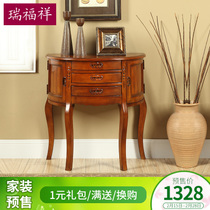 Rui Fu Xiang Semi Continental American Porch Table Partition Cabinet Solid  Wood Console Cabinet In The