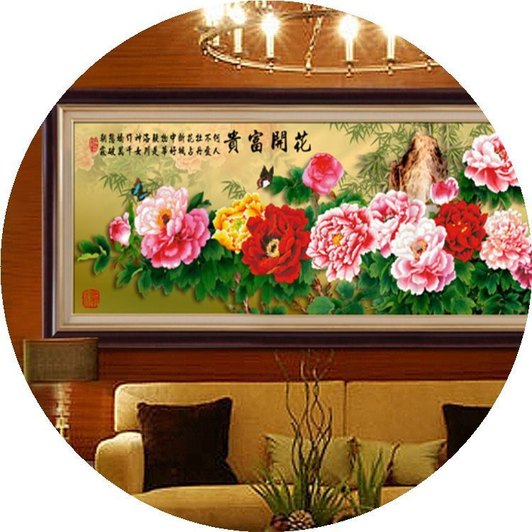Diamond painting, new cross stitch living room, diamond embroidery, riches and honour nine feet, peony square drilling, full drill, 5D round drill