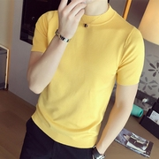Trend of Korean male short sleeved T-shirt half turtleneck sweater tight summer ice cotton thin half sleeve knit soil