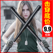 Matte black baseball bat thick alloy steel rod iron weapons onboard self-defense baseball bat