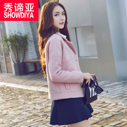 2017 new spring wool coat female short slim wool woolen coat coat thick Korean students tide
