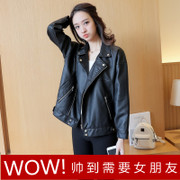 Leather coat female short Korean students and 2016 new all-match locomotive Pu BF winter jacket loose