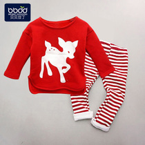 Fall winter baby clothes set kids plus velvet 0-1-2-3 Red new year Christmas Baby winter clothing